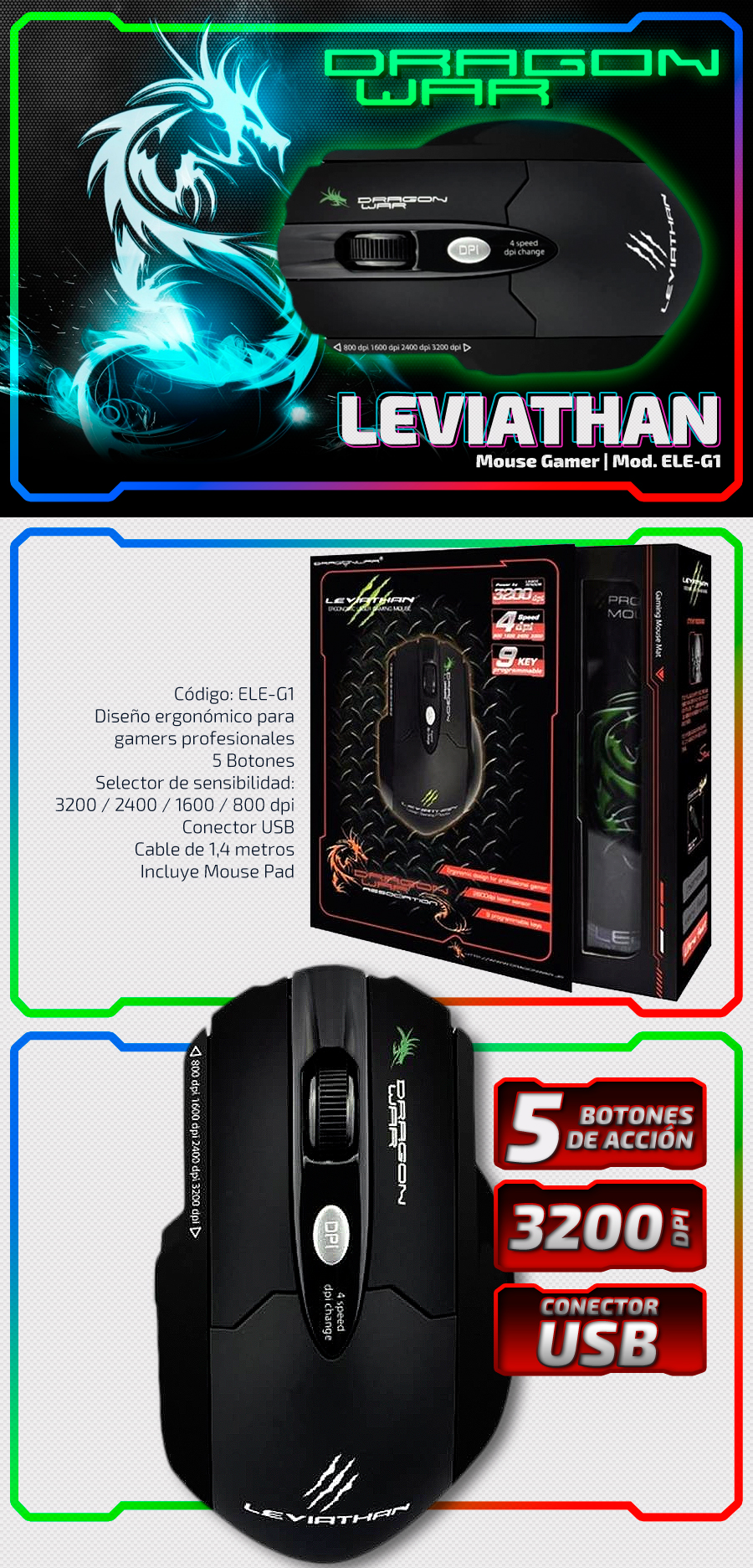 Leviathan | Dragon War - Gaming Mouse | ELE G1
